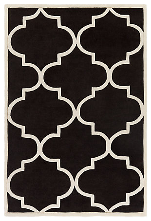 Home Accents Santorini Harmony Rug 4' x 6', Black/Ivory, large