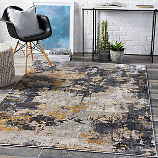 "Home Accent Wilbert 5'3"" x 7'3"" Area Rug, Black/Gray, rollover"