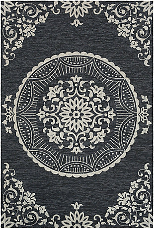 Home Accent May 5' x 8' Area Rug, Black/Gray, large