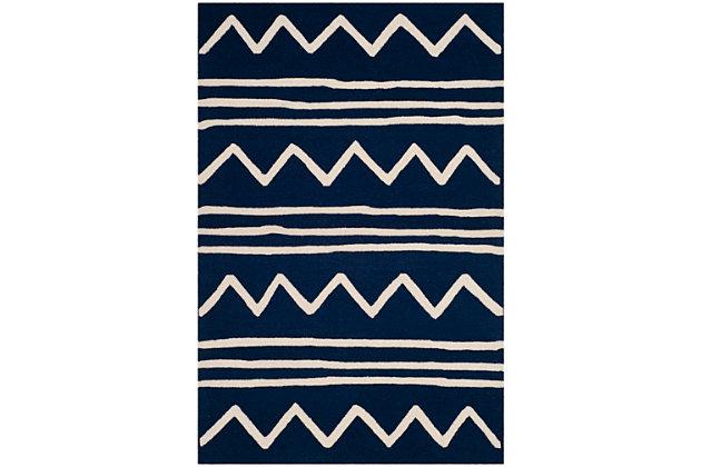 Rectangular 4' x 6' Rug, Blue, large