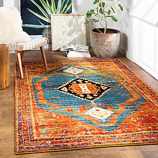 "Home Accent Oceguera 5'3"" x 7'3"" Area Rug, Orange, rollover"