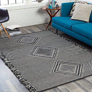 "Home Accent Launa 5' x 7'6"" Area Rug, Black/Gray, rollover"