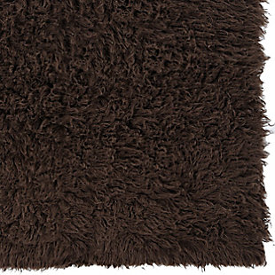 Home Accents Mushroom 3'x5' Flokati Accent Rug, Brown, large