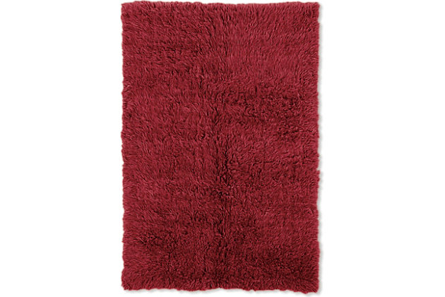 Home Accents Burgundy 4'x6' Flokati Accent Rug, Red, large