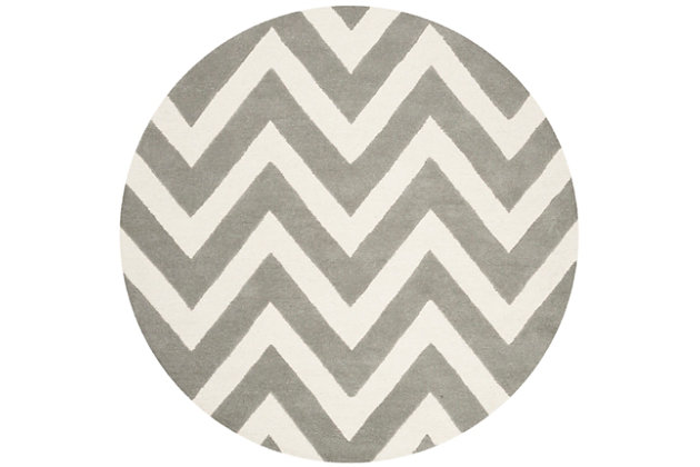 Round 5' x 5' Rug, Gray, large