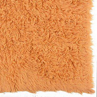 "Home Accents Pumpkin 2'4""x4'3"" Flokati Accent Rug, Orange, large"