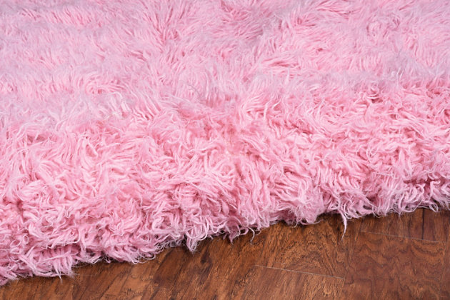 "Home Accents Fuchsia 3'6""x5'6"" Flokati Accent Rug, Pink, large"