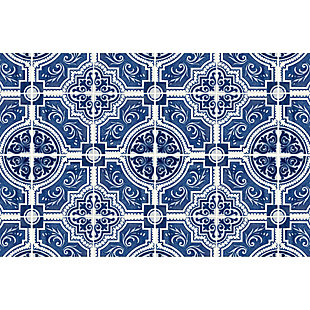 FlorArt French Quarter FlorArt 3'x5' Floor Mat, Blue, large
