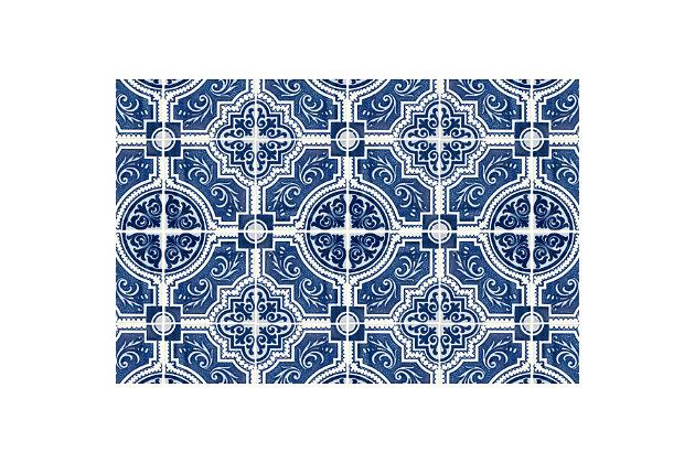 FlorArt French Quarter FlorArt 3'x5' Floor Mat, Blue, large