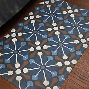 FlorArt Arkham FlorArt 3'x5' Floor Mat, Blue, rollover