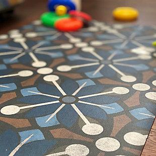 FlorArt Arkham FlorArt 3'x5' Floor Mat, Blue, large