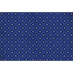 FlorArt Orleans Bloom FlorArt 3'x5' Floor Mat, Blue, large