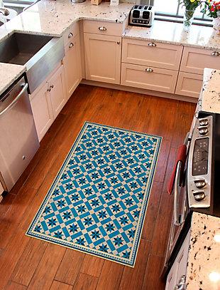 FlorArt York Cerulean FlorArt 3'x5' Floor Mat, Blue, rollover