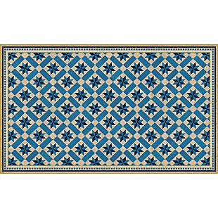 FlorArt York Cerulean FlorArt 3'x5' Floor Mat, Blue, large