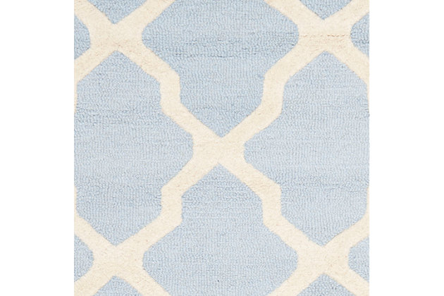 Cambridge 2' x 3' Wool Pile Rug, Light Blue/Ivory, large