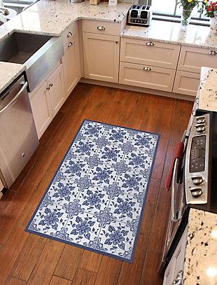 FlorArt Delft Floral FlorArt 3'x5' Floor Mat, Blue, rollover