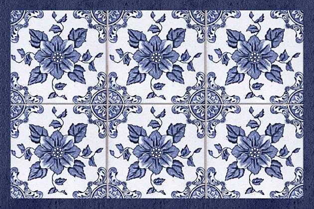 FlorArt Delft Floral FlorArt 3'x5' Floor Mat, Blue, large