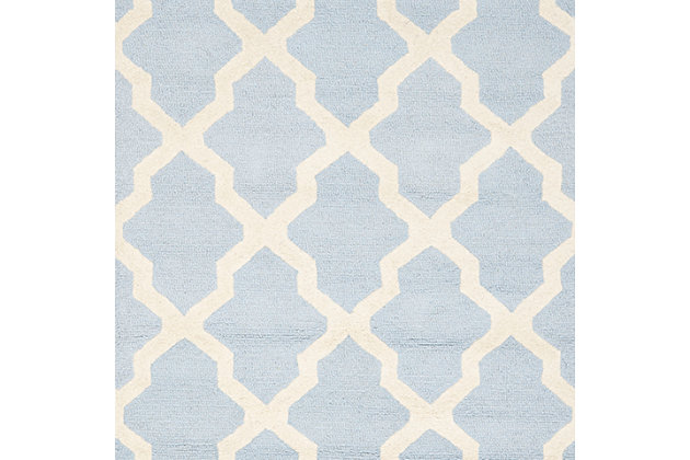 Cambridge 3' x 5' Wool Pile Rug, Light Blue/Ivory, large