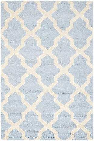 Cambridge 3' x 5' Wool Pile Rug, Light Blue/Ivory, rollover