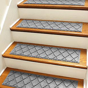 """Waterhog Argyle 8.5"""" x 30"""" Stair Treads Set/4, Medium Gray, rollover"""