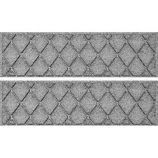 "Waterhog Argyle 8.5"" x 30"" Stair Treads Set/4, Medium Gray, large"