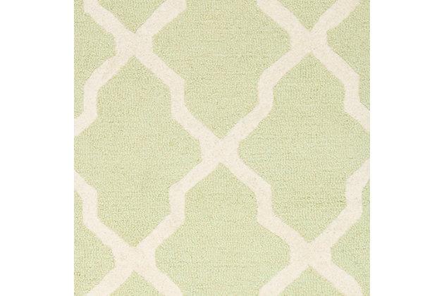 Cambridge 2' x 3' Wool Pile Rug, Light Green/Ivory, large