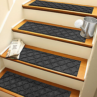 "Waterhog Cordova 8.5"" x 30"" Stair Treads Set/4, Charcoal, rollover"