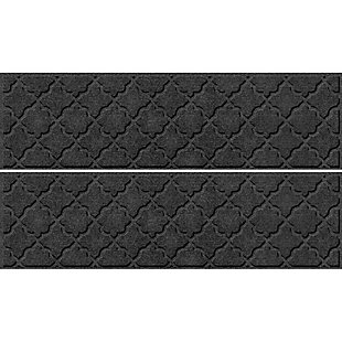 "Waterhog Cordova 8.5"" x 30"" Stair Treads Set/4, Charcoal, large"