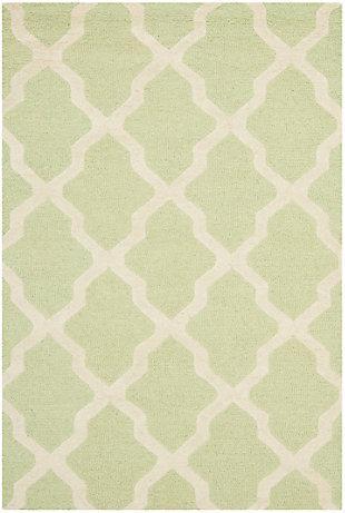 Cambridge 3' x 5' Wool Pile Rug, Light Green/Ivory, large