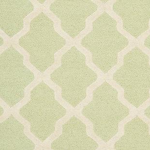 Cambridge 4' x 6' Wool Pile Rug, Light Green/Ivory, large