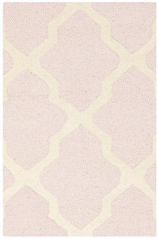 Cambridge 2' x 3' Wool Pile Rug, Light Pink/Ivory, large