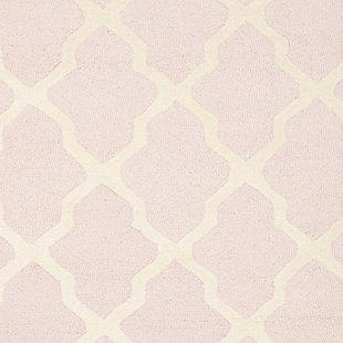 Cambridge 3' x 5' Wool Pile Rug, Light Pink/Ivory, large