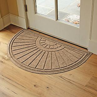 """Waterhog Sunburst 24"""" x 39"""" Half Round Doormat, Camel, rollover"""