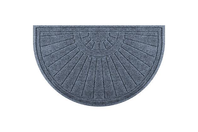 """Waterhog Sunburst 24"""" x 39"""" Half Round Doormat, Bluestone, large"""