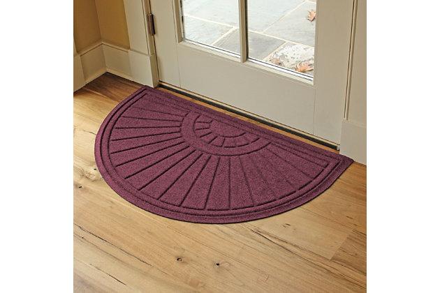 """Waterhog Sunburst 24"""" x 39"""" Half Round Doormat, Navy, large"""