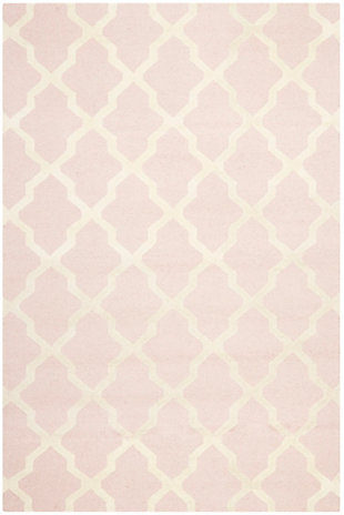 Cambridge 6' x 9' Wool Pile Rug, Light Pink/Ivory, large