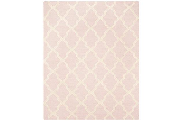 "Cambridge 7'6"" x 9'6"" Wool Pile Rug, Light Pink/Ivory, large"