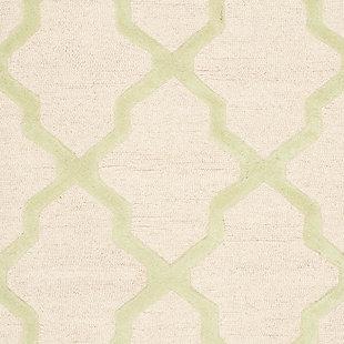 Cambridge 3' x 5' Wool Pile Rug, Ivory/Light Green, large