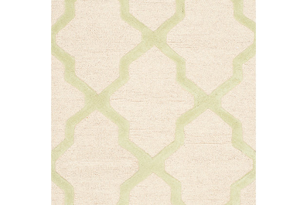 Cambridge 3' x 5' Wool Pile Rug, Ivory/Light Green, large