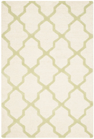 Cambridge 4' x 6' Wool Pile Rug, Ivory/Light Green, large