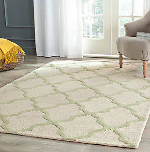 Cambridge 5' x 8' Wool Pile Rug, Ivory/Light Green, rollover