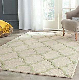 Cambridge 5' x 8' Wool Pile Rug, Ivory/Light Green, rollover