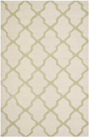 Cambridge 5' x 8' Wool Pile Rug, Ivory/Light Green, large