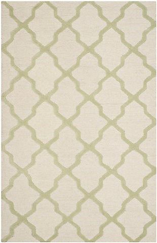 Cambridge 6' x 9' Wool Pile Rug, Ivory/Light Green, rollover