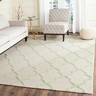 Cambridge 8' x 10' Wool Pile Rug, Ivory/Light Green, rollover