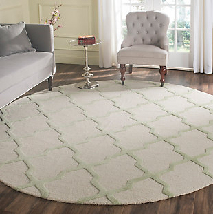 Cambridge 8' x 8' Round Wool Pile Rug, Ivory/Light Green, rollover