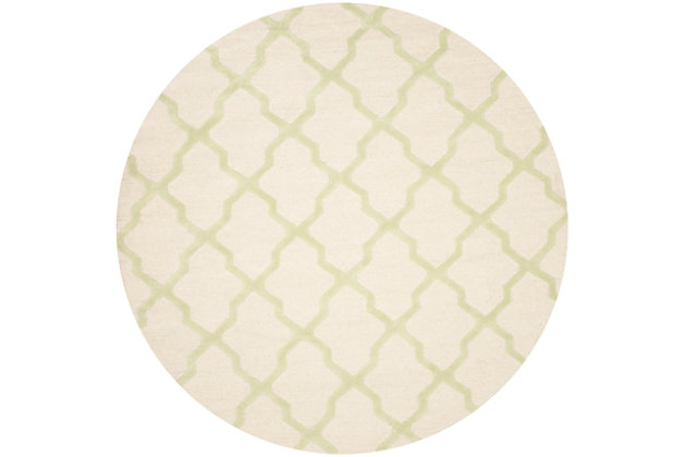Cambridge 8' x 8' Round Wool Pile Rug, Ivory/Light Green, large
