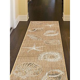 "Transocean Mateo Ocean Jewels Indoor/Outdoor Rug Sand 39""x59"", Natural, large"