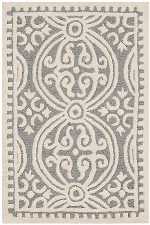 Cambridge 3' x 5' Wool Pile Rug, Silver/Ivory, large