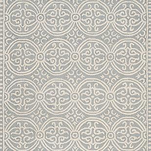 Cambridge 4' x 6' Wool Pile Rug, Silver/Ivory, large